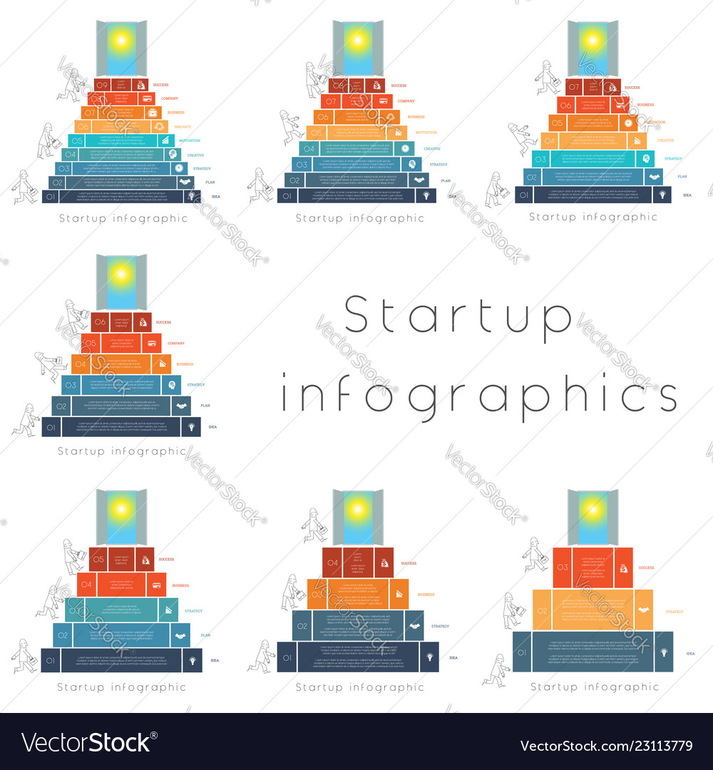Startup infographics templates for 3456789