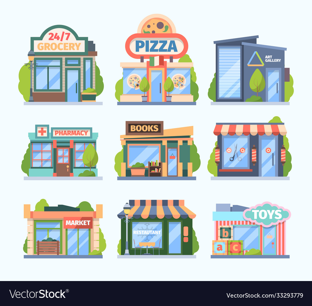 Stores and market set facade colored shops