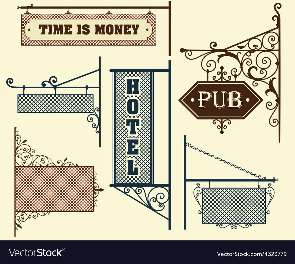 Vintage street signboards hanging on forged vector image