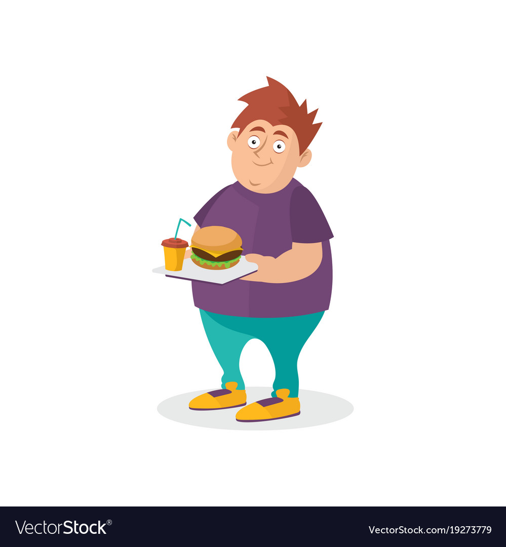 young fat guy holding hamburger and sweet drink on