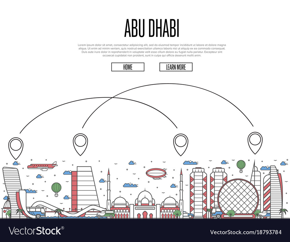 Air travel to abu dhabi poster in linear style