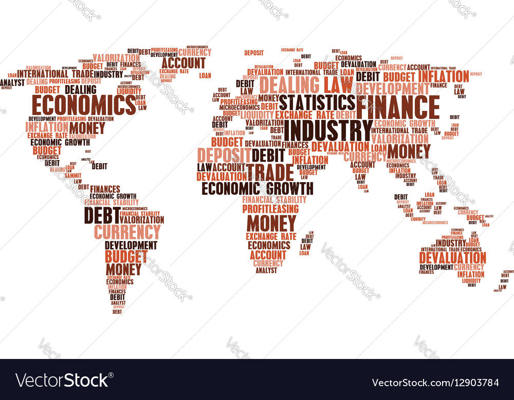 Business finance word cloud tags world map shape vector image gumiabroncs Gallery