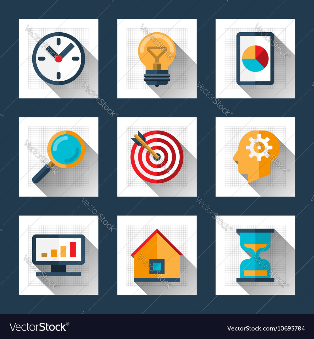 Business icons set in flat style