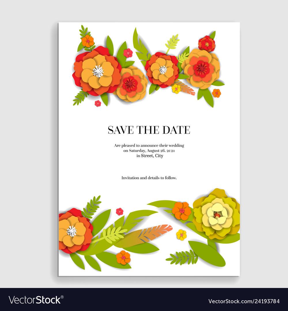 Floral invitation for wedding