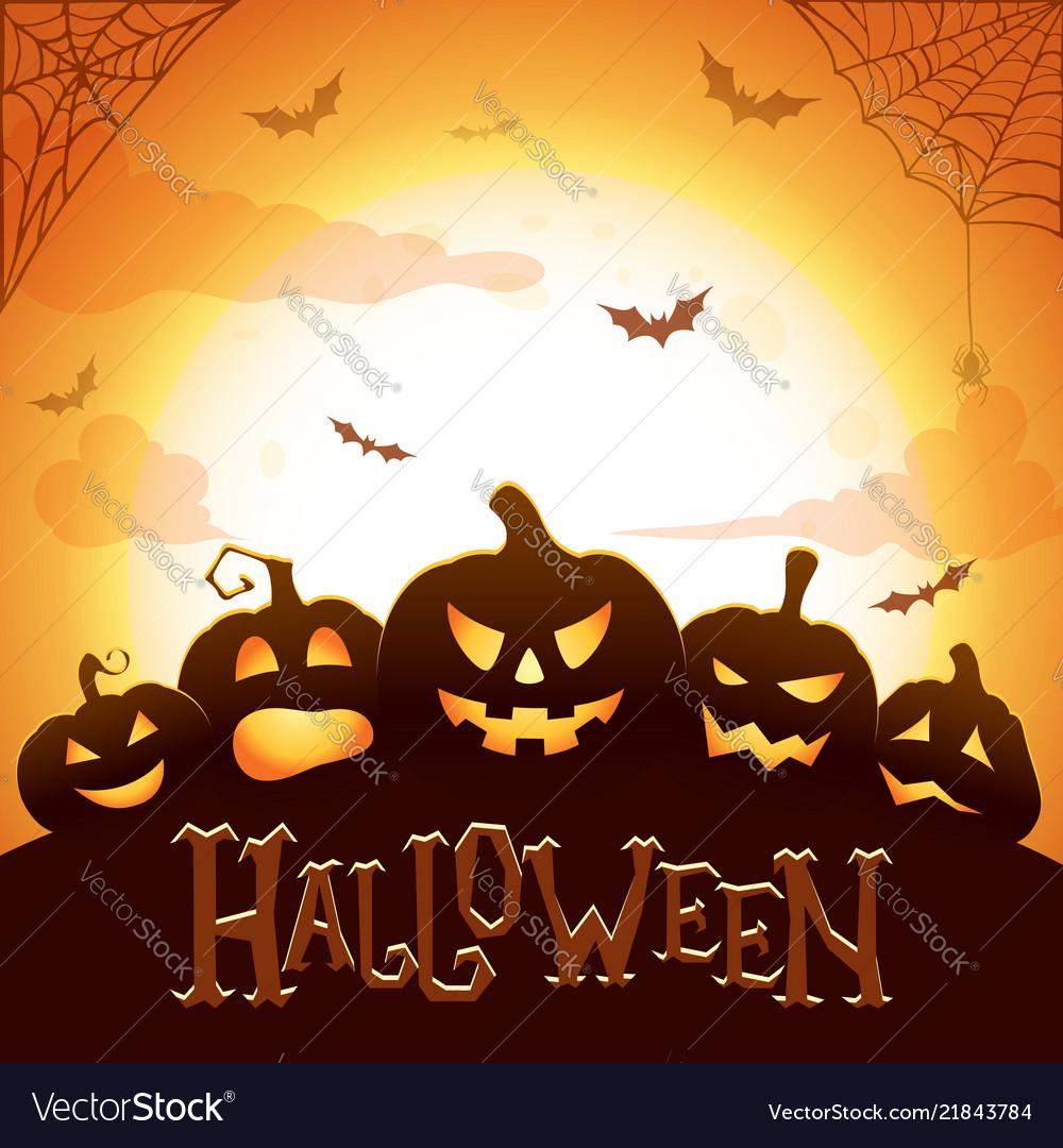 Halloween poster glowing halloween pumpkins