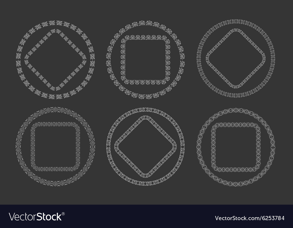 Hand drawn geometric frame set in tribal doodle vector image