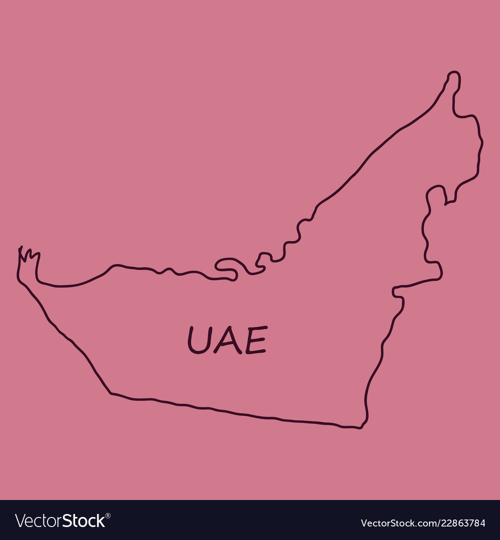 silhouette country borders map of united arab
