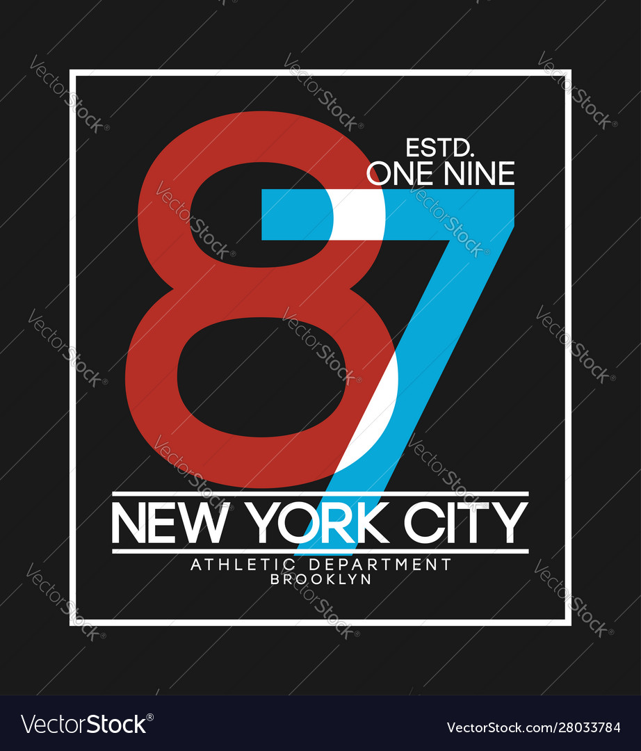 New york t-shirt design with number overlay and