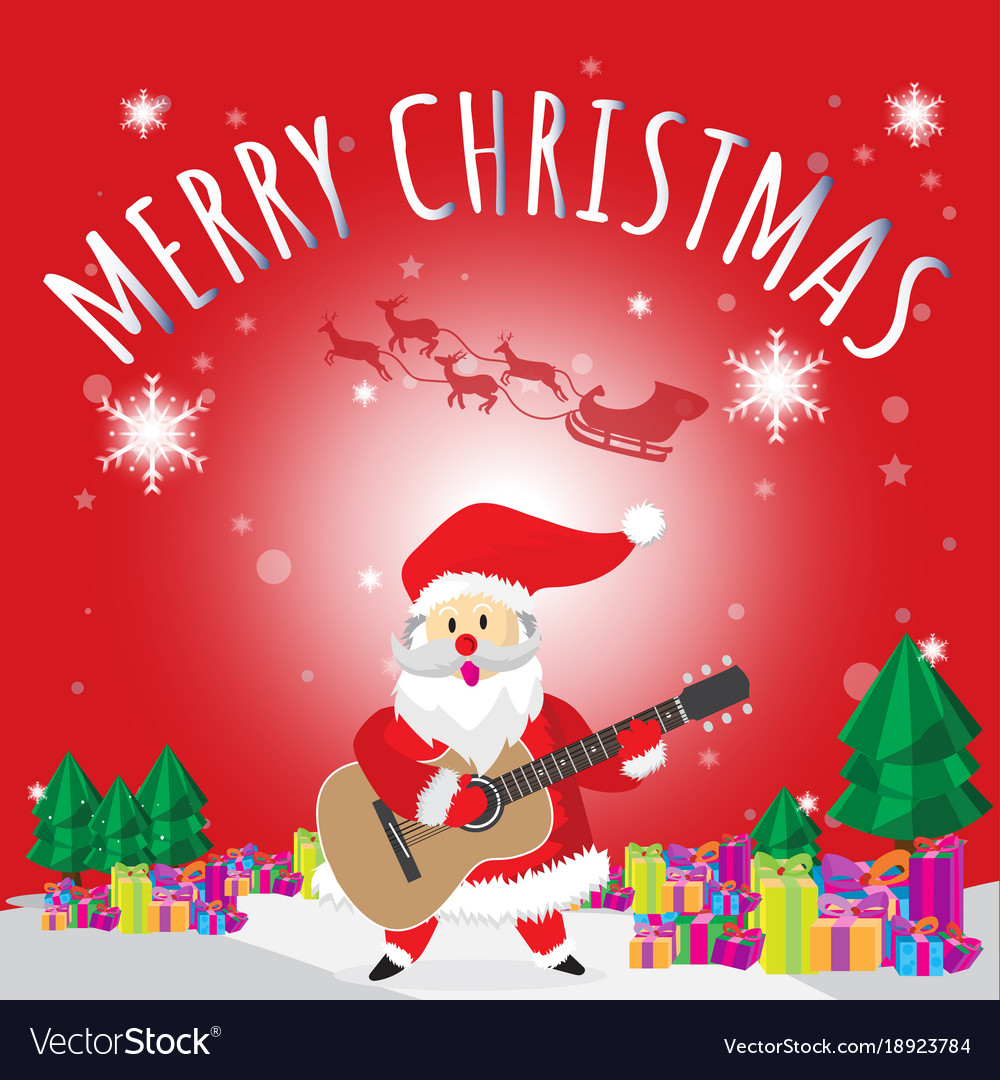 santa play guitar merry christmas red background vector image