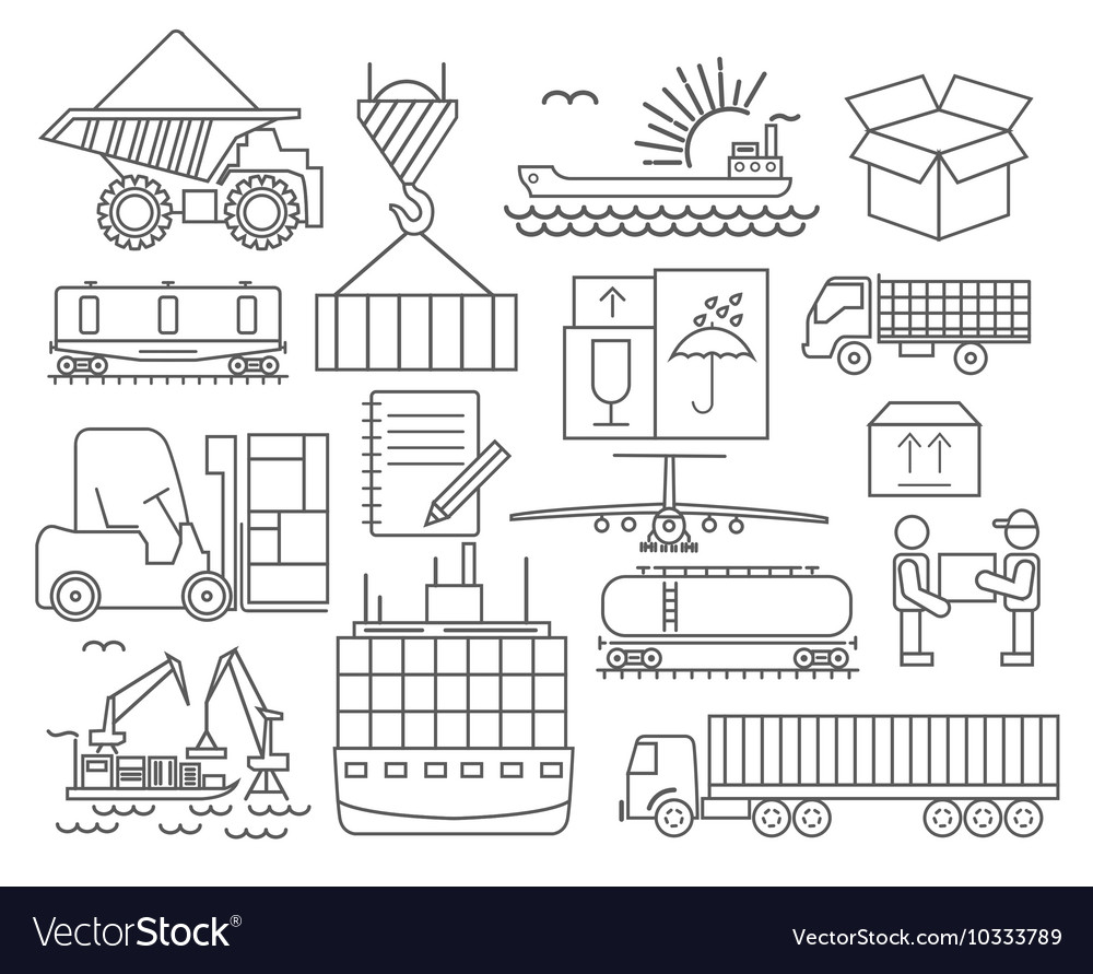Cargo shipping delivery icon set Thin line design