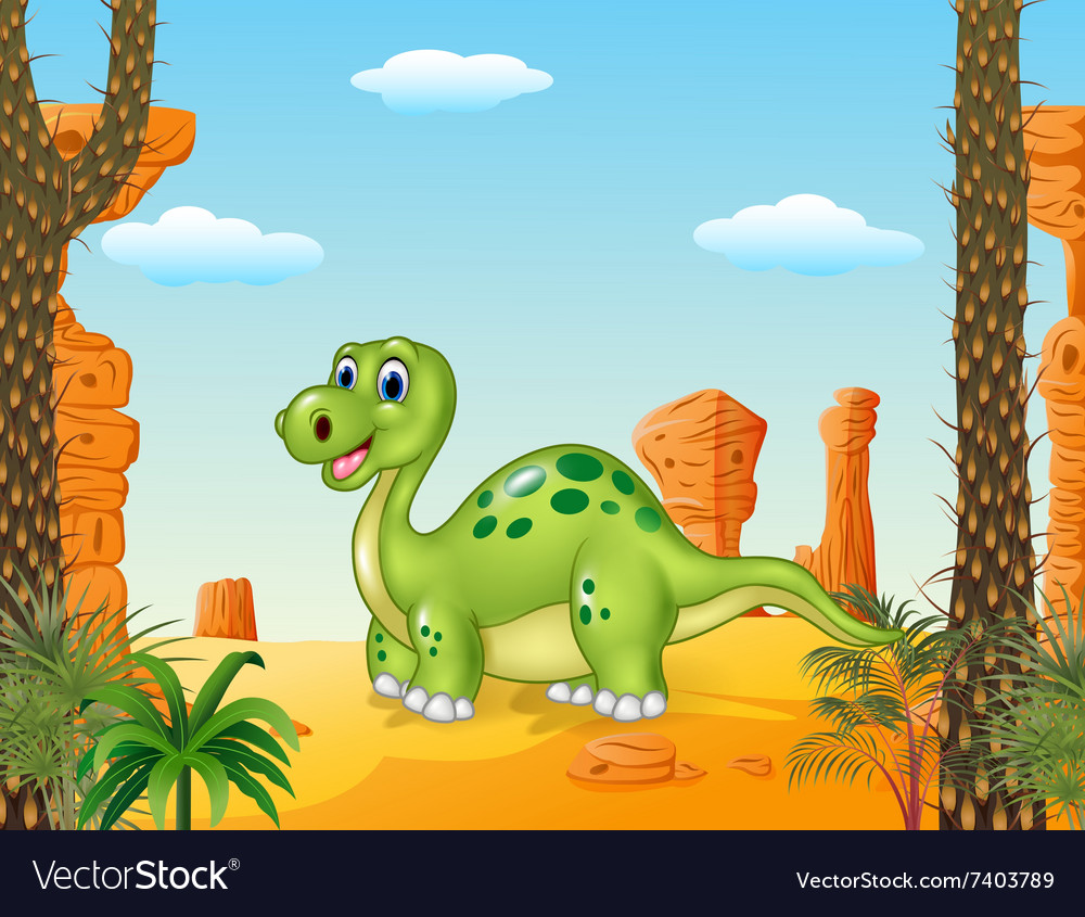 Cartoon happy dinosaur with prehistoric background vector image