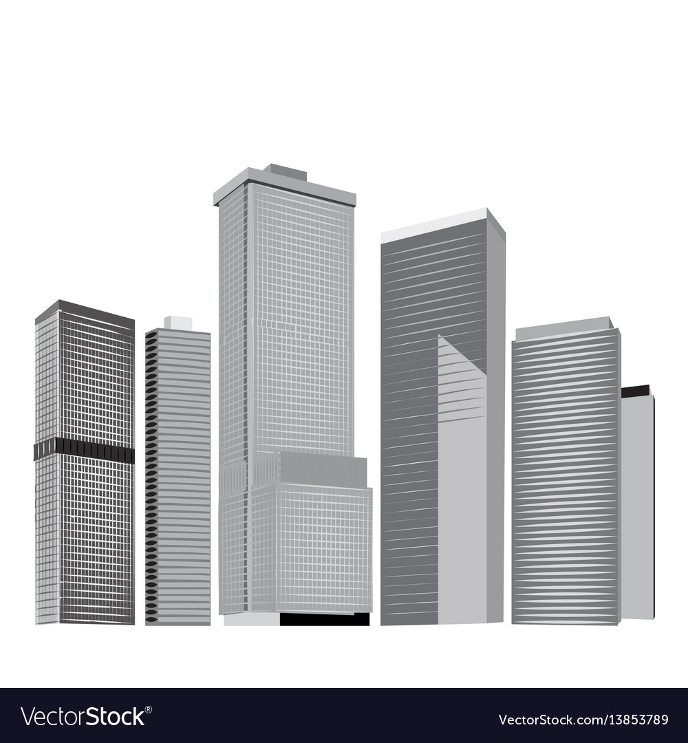 City skyline in grey colors