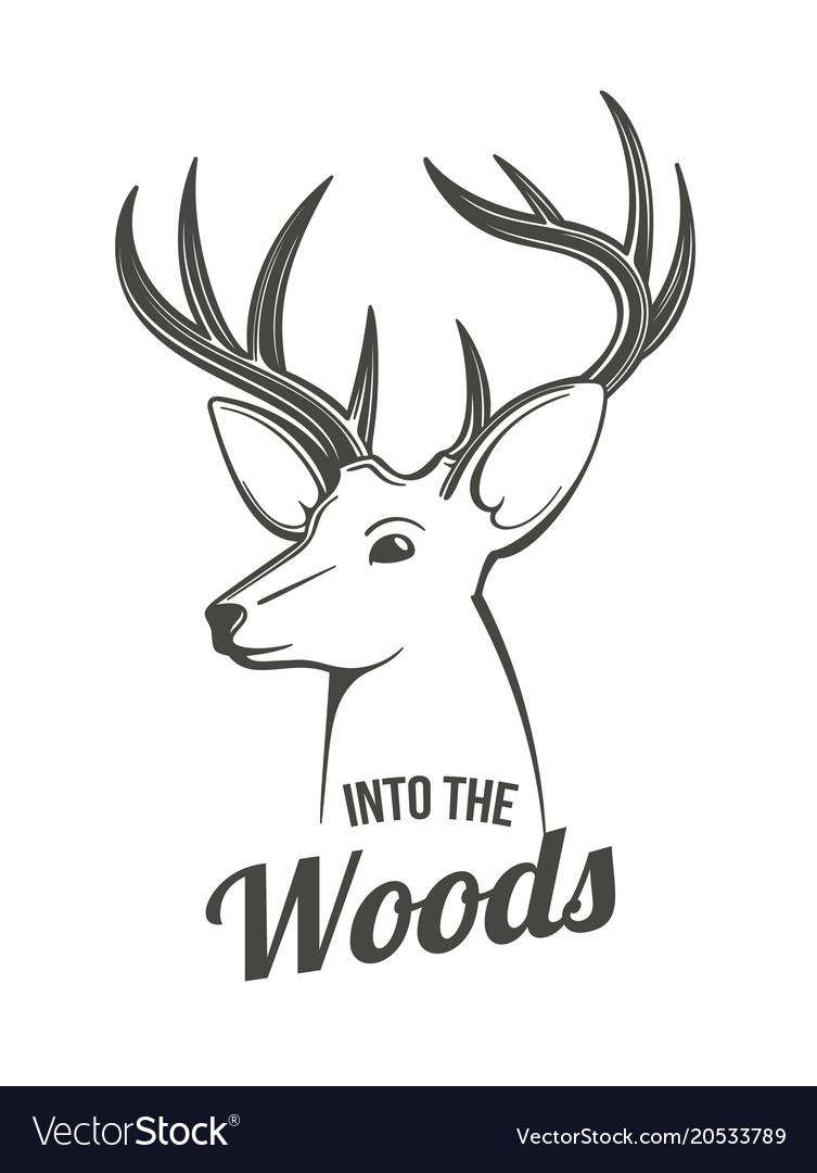 Deer Head Outlines Vector Image