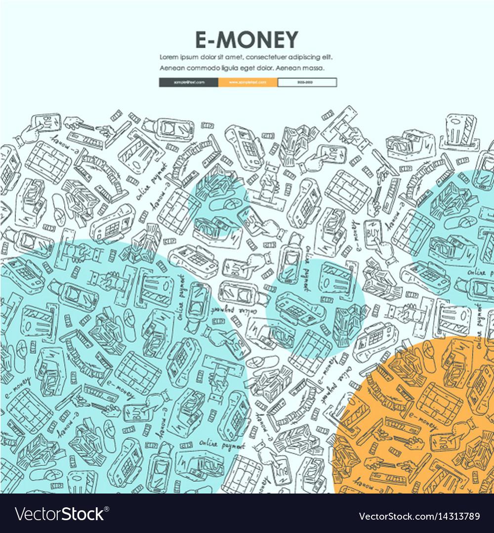 e money doodle website template design royalty free vector