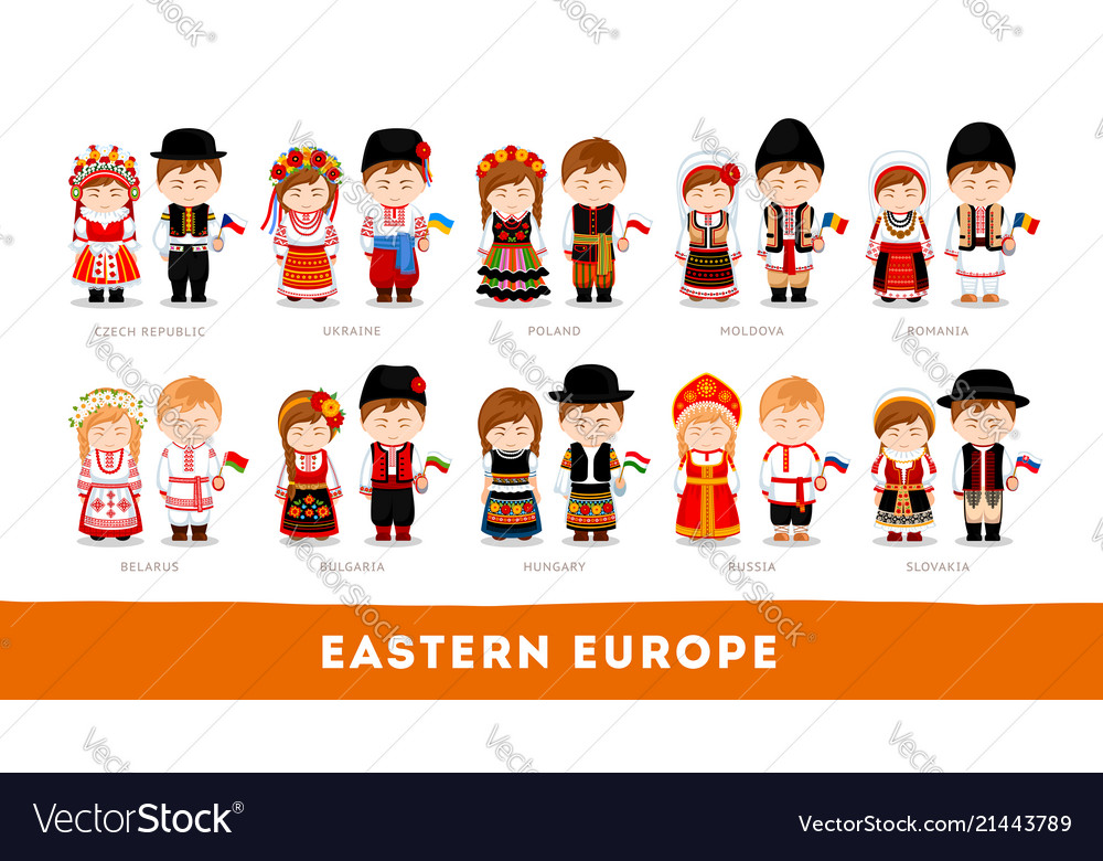 Europeans in national clothes eastern europe