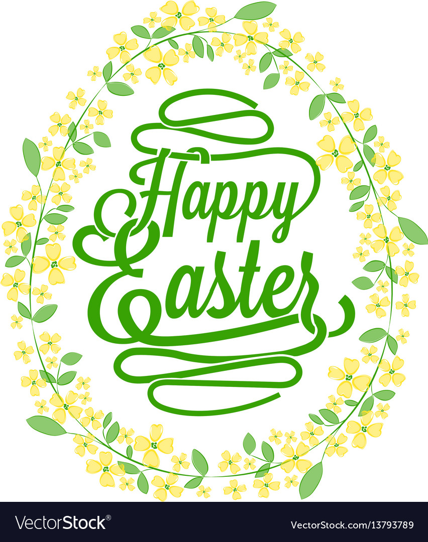 Happy easter greetings card calligraphic lettering