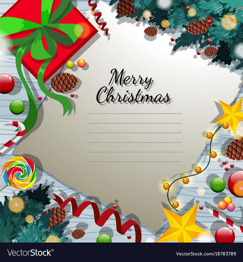 Merry christmas card template with present and Vector Image