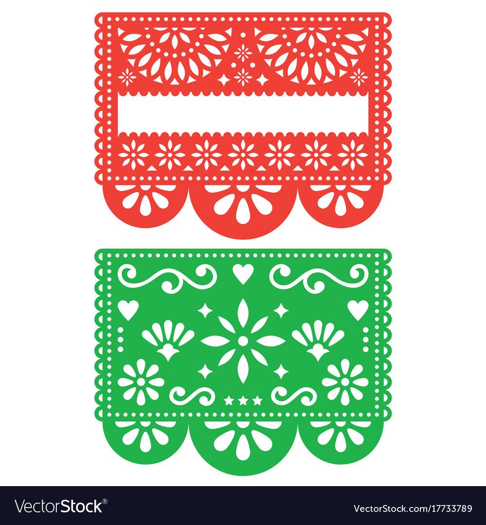mexican papel picado template design set vector image. Black Bedroom Furniture Sets. Home Design Ideas