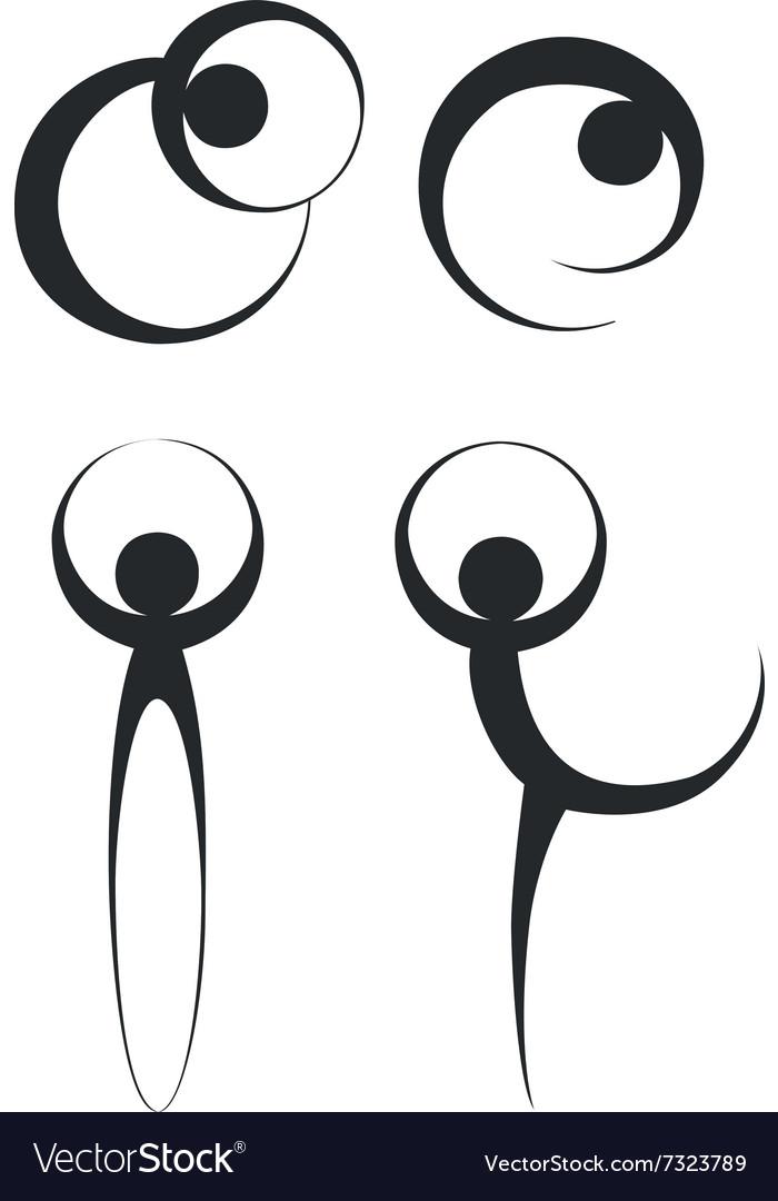 People dancing silhouette 02 vector image
