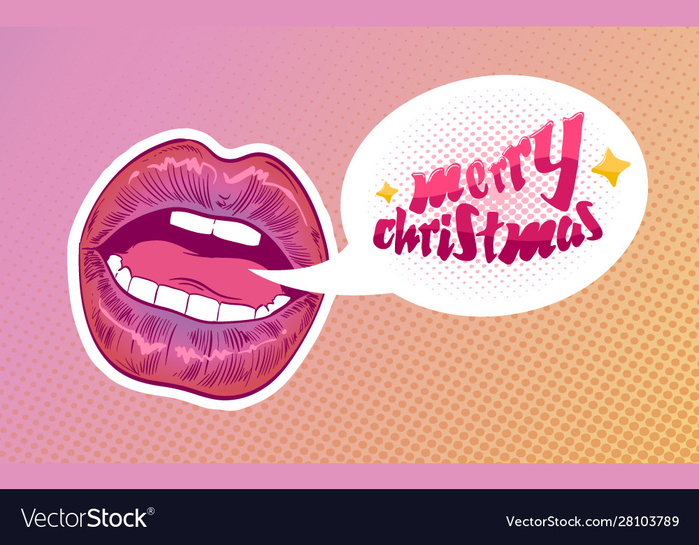 Pop Art Woman Lips Merry Christmas Sexy Mouth Vector Image