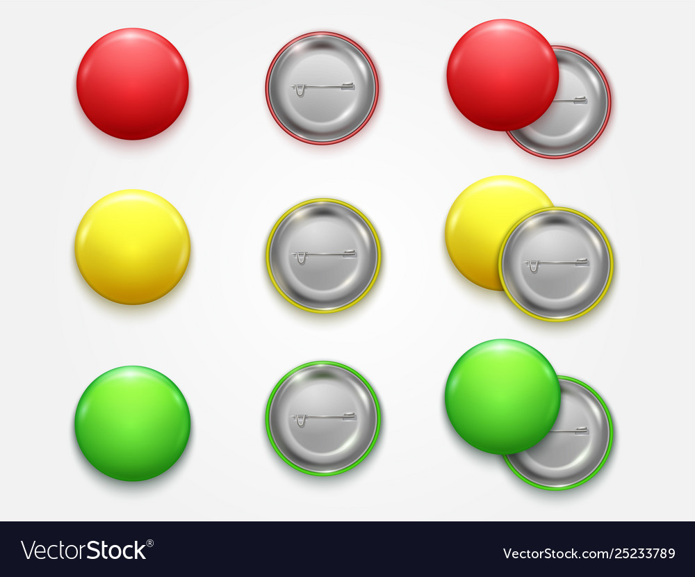 Realistic 3d empty color blank circle button badge