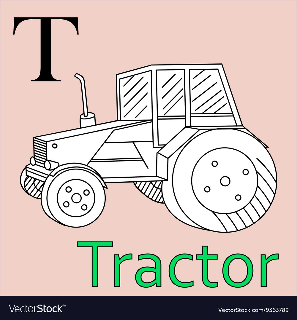 T letter alphabet Coloring book tractor Royalty Free Vector
