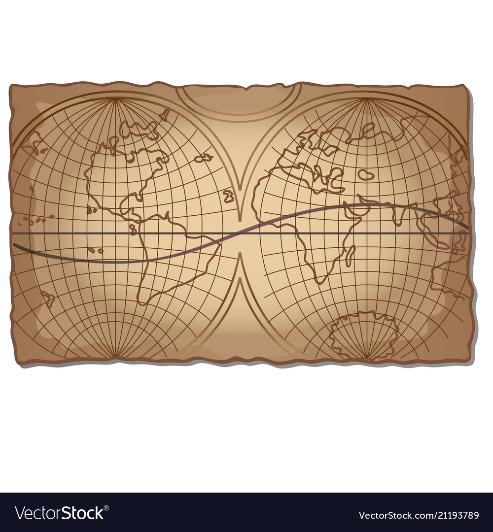 Vintage world map on faded old piece paper