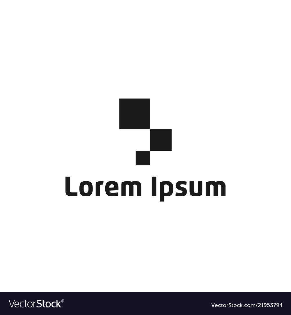 Abstract square pixel logo icon design template