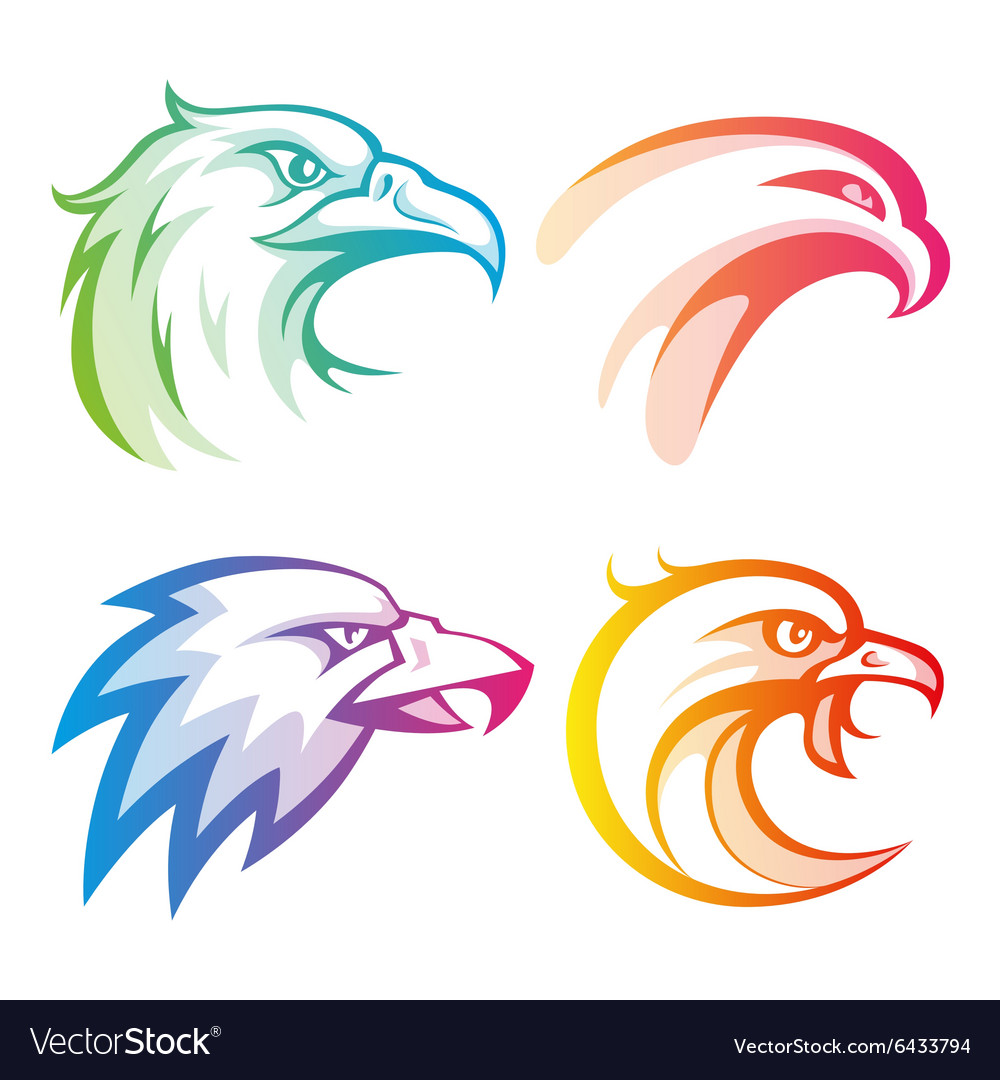 Colorful eagle head logos with rainbow gradients