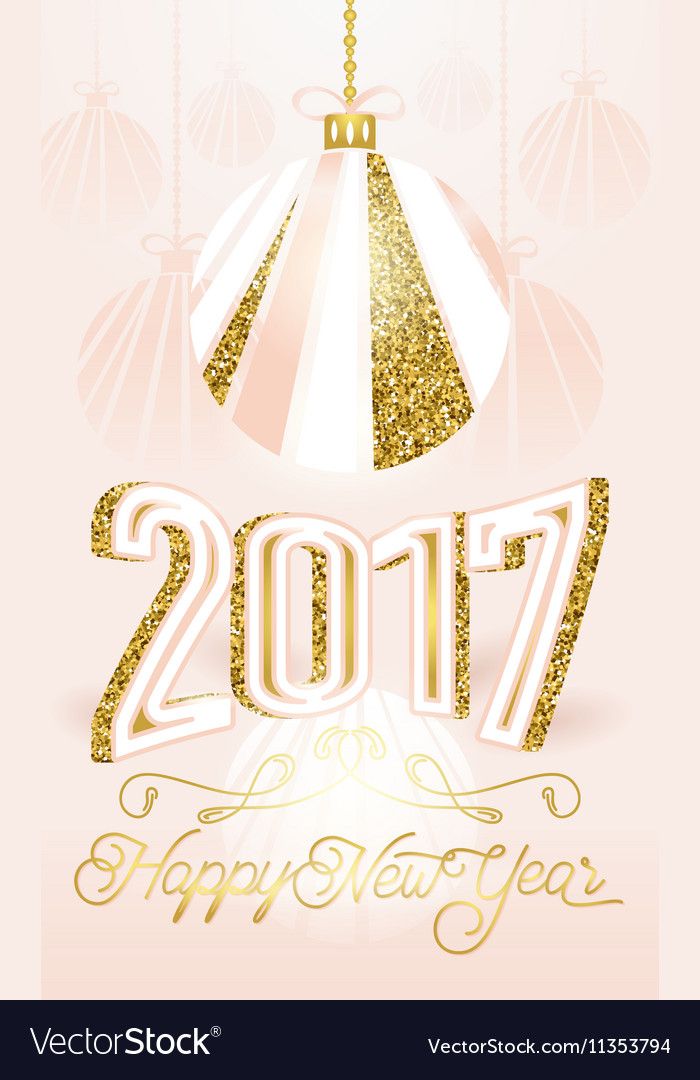 Cute golden 2017 Happy New Year greeting card on