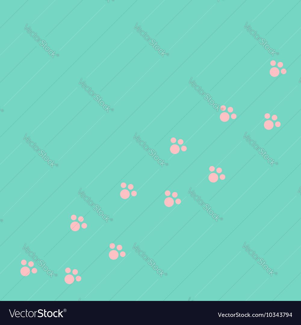 Dog cat paw print track diagonal Pink footprint