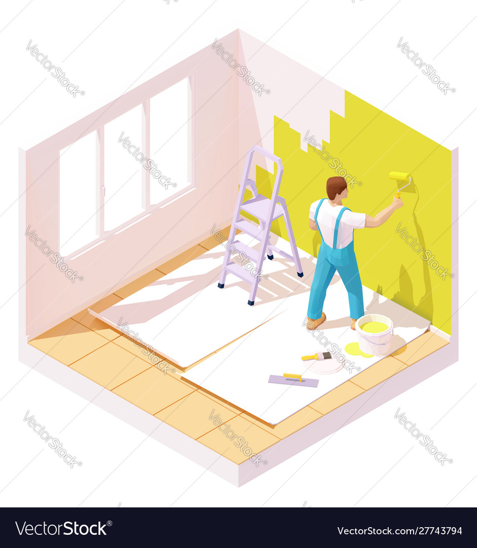 Isometric painter painting room wall