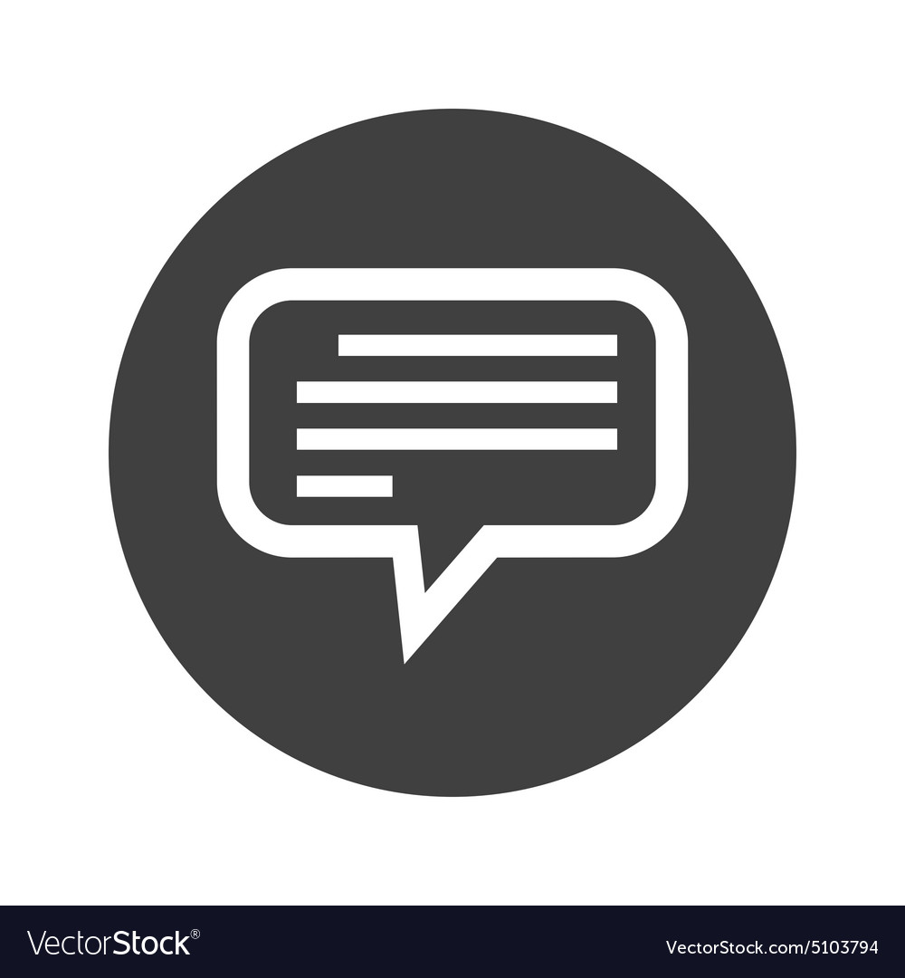 Monochrome round text message icon