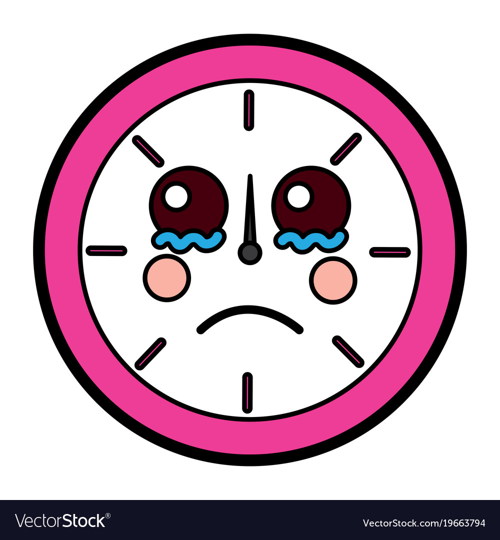 Sad clock kawaii icon image vector image