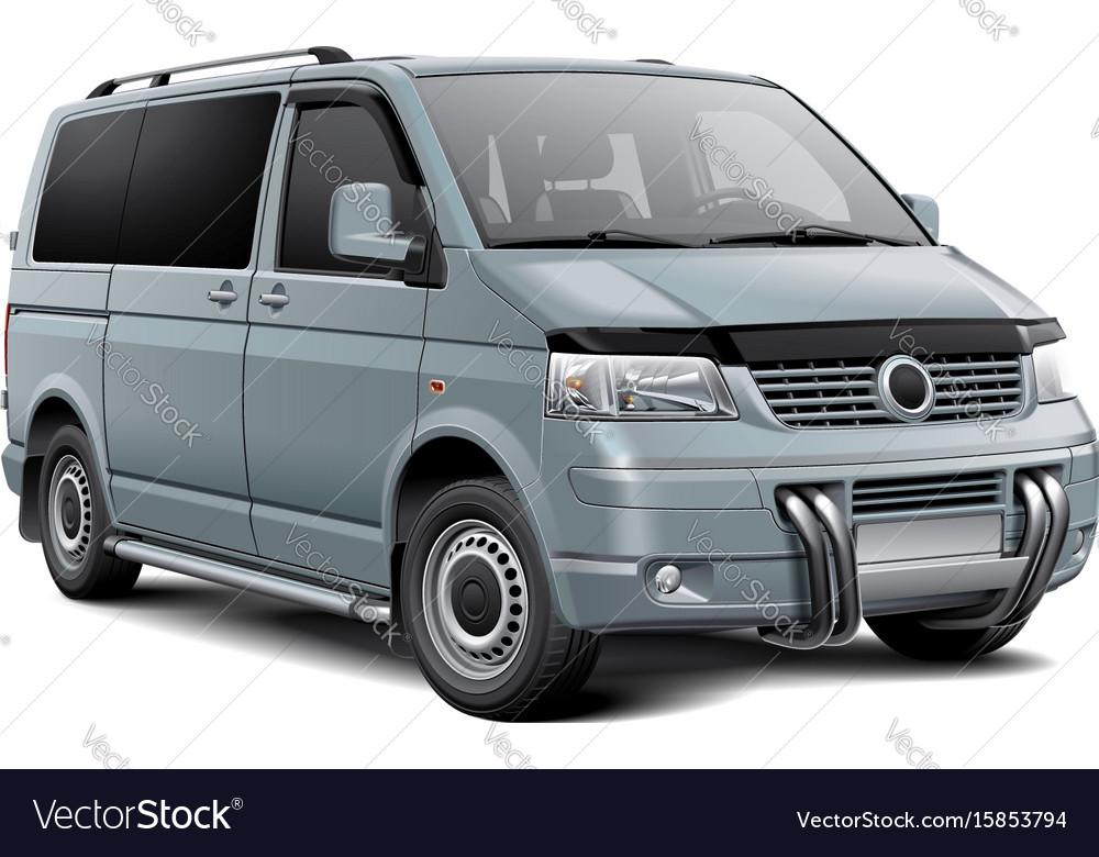 Silver passenger van vector image