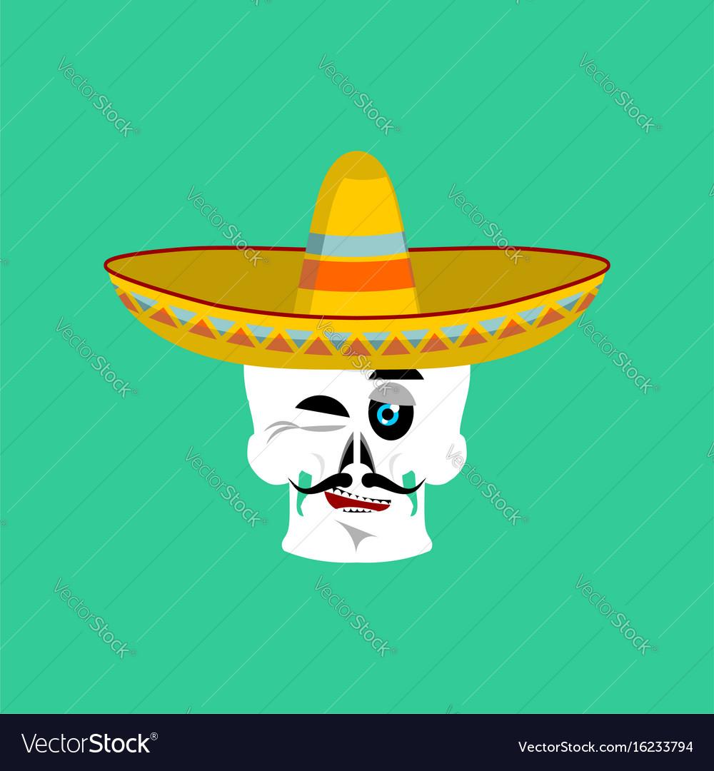 Skull in sombrero winking emoji mexican skeleton