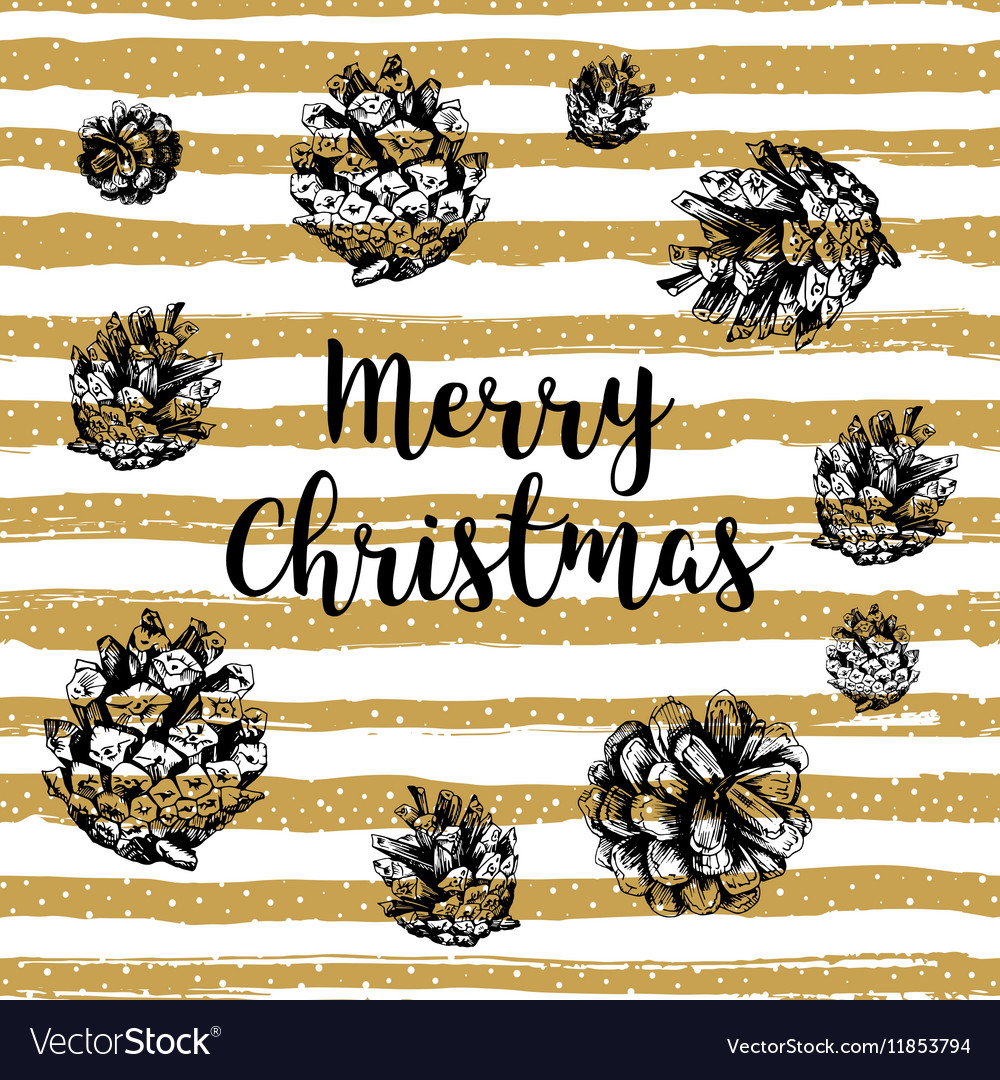 Trendy Merry Christmas card Gold striped
