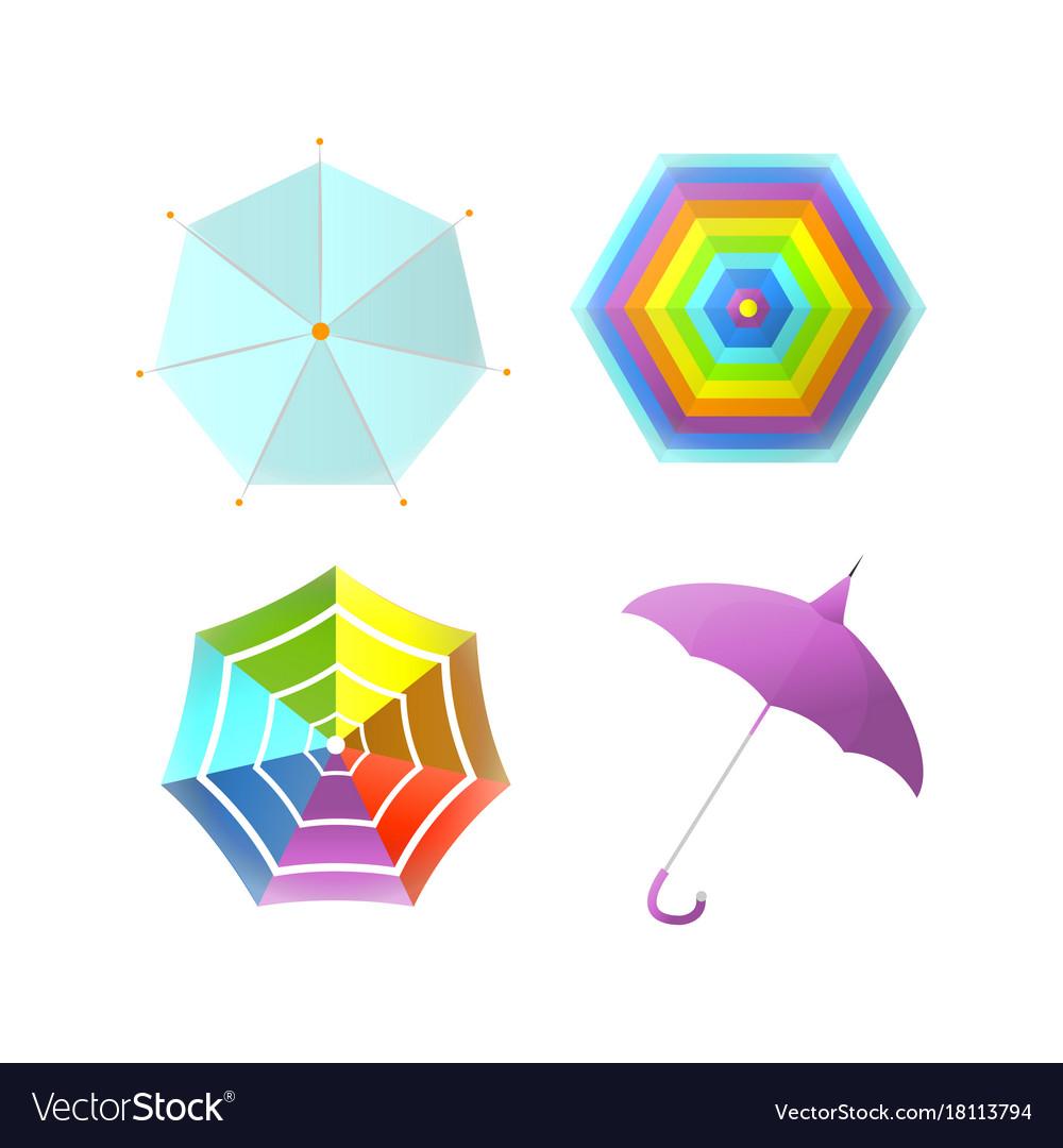 Umbrella parasol side and top view rainbow color