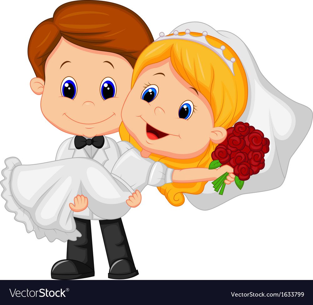Cartoon Kids Playing Bride and Groom Royalty Free Vector