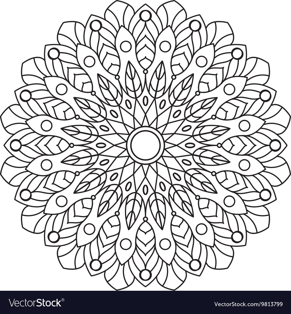 Coloring Book Mandala Circle lace ornament round