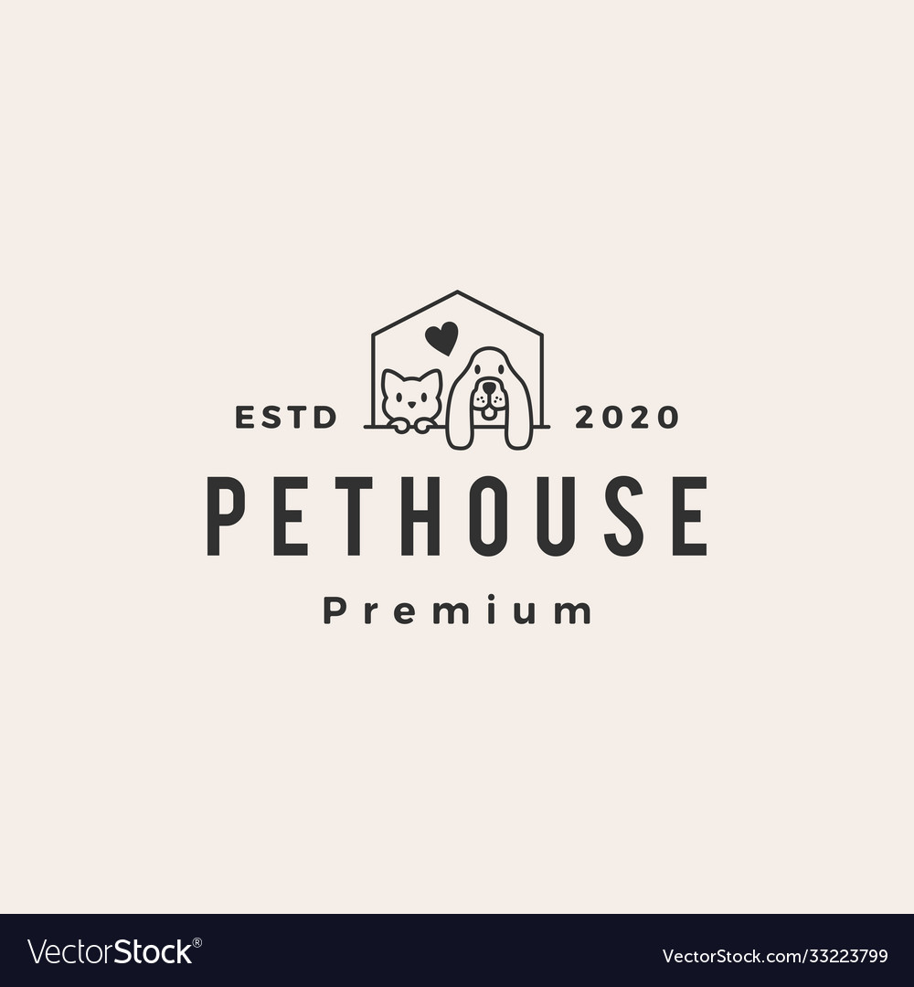 Dog cat pet house hipster vintage logo icon