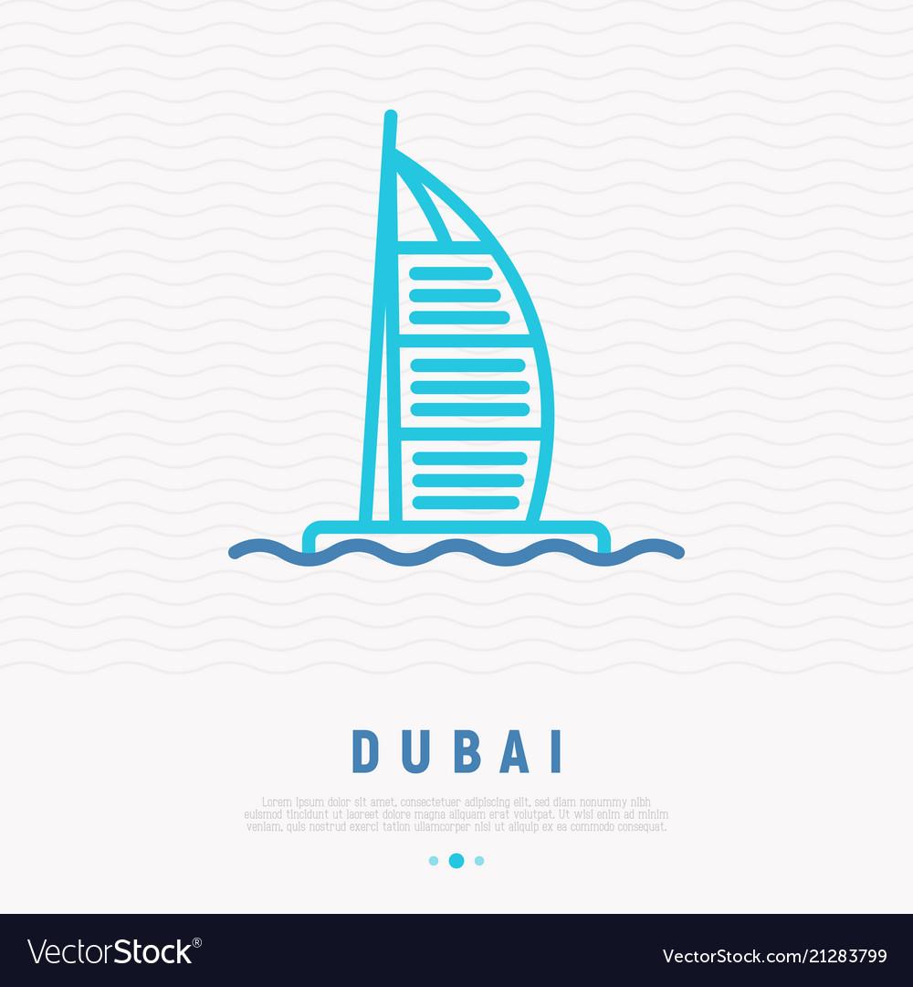 Dubai landmark thin line icon
