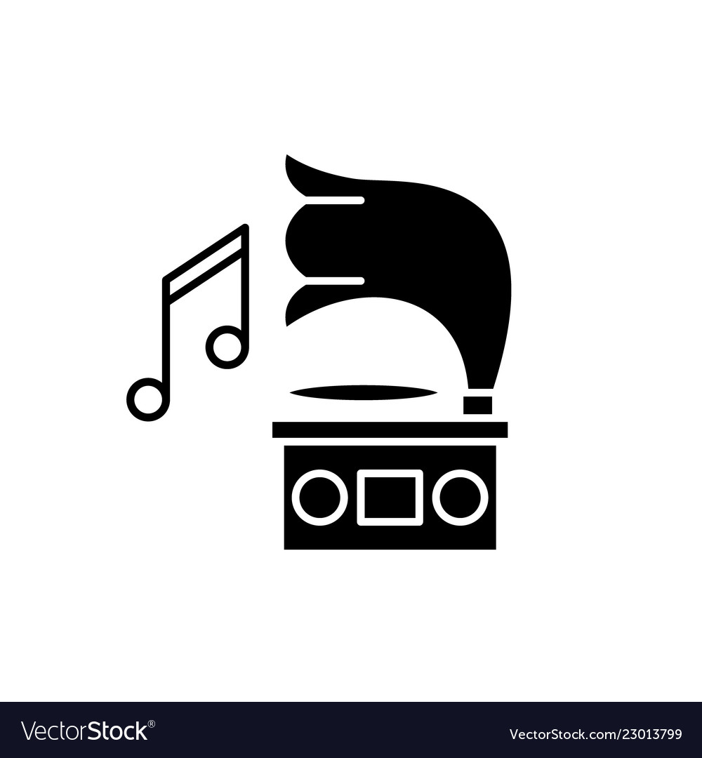Gramophone black icon sign on isolated