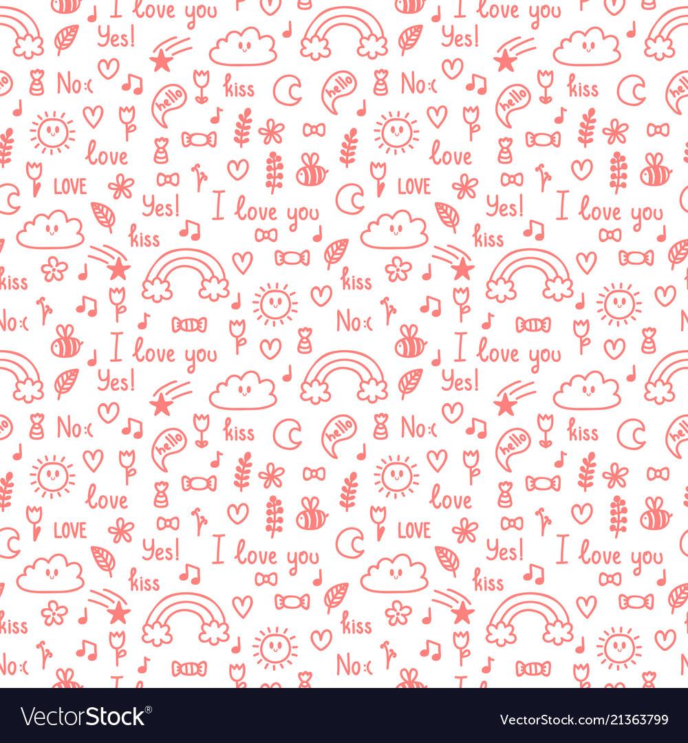 Hand drawn seamless pattern on love theme design