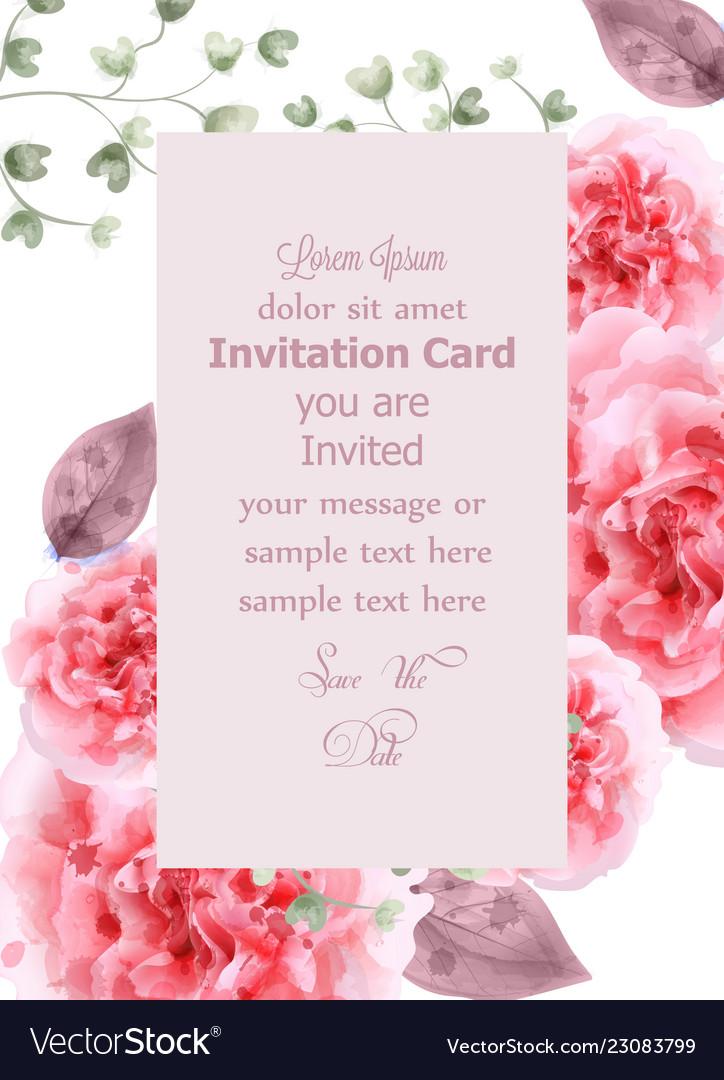 Pink roses card watercolor vertical