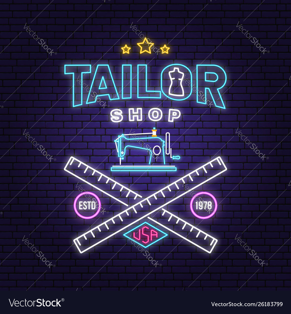 Tailor shop neon design or emblem night