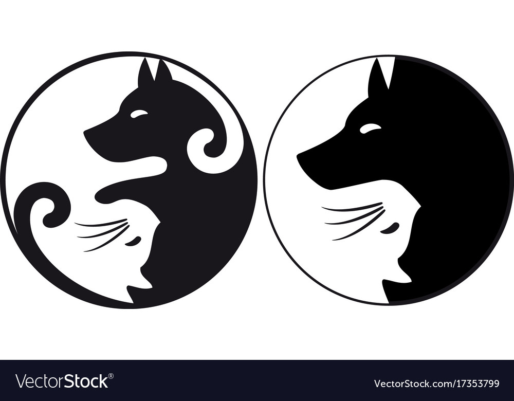 Yin Yang Symbol Cat And Dog Royalty Free Vector Image