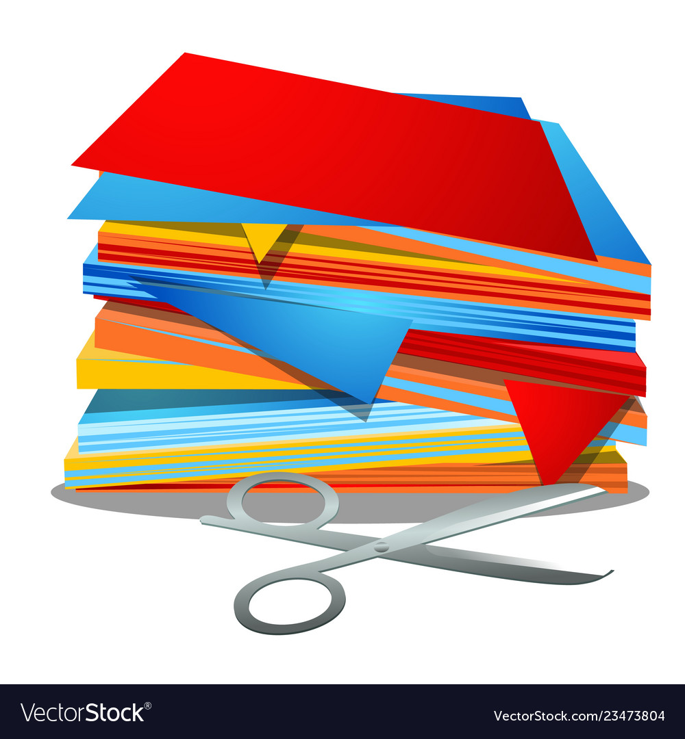 A stack of colored paper and office scissors