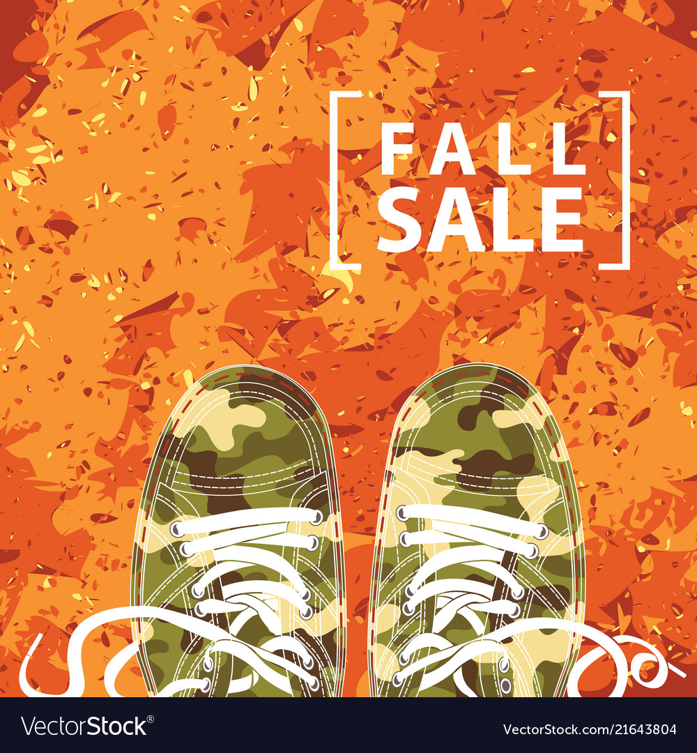 Autumn sale banner with the inscription and shoes
