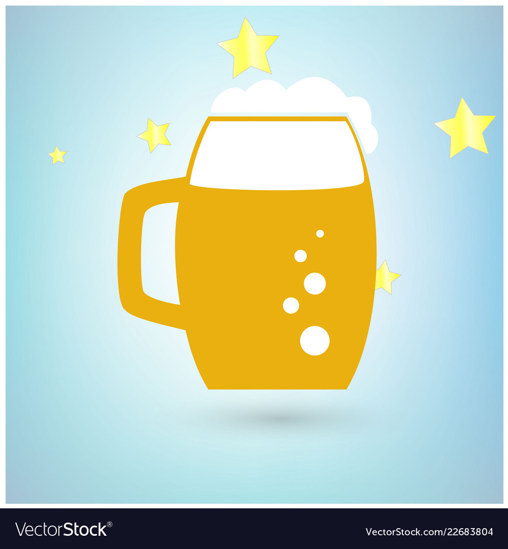 Beer icon with stars on blue background